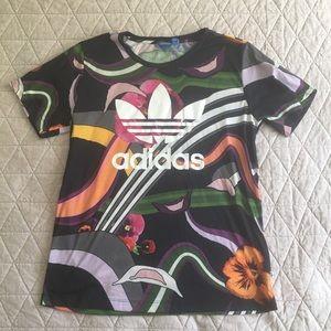 Adidas Floral Tee Shirt Sz Small